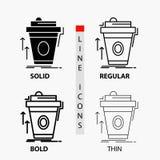 product, promo, koffie, kop, merk marketing Pictogram in Dunne, Regelmatige, Gewaagde Lijn en Glyph-Stijl Vector illustratie stock illustratie