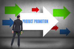 Product promotion against arrows pointing Royalty Free Stock Photo