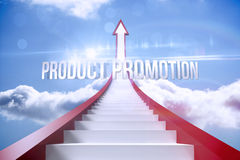 Product promotion against red steps arrow pointing up against sky Stock Photo