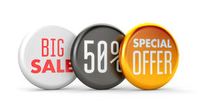 Product promotions. Big sale, special offer and 50% off. 3d illustration Stock Image