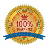 Quality guarantee badge isolated on white. Product quality guarantee satisfaction money back quality badge style design element on white background Royalty Free Stock Photos