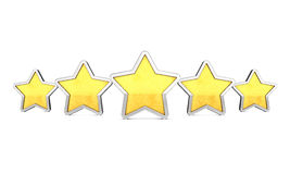 Product quality rating. Golden rating stars on white background , Product quality Stock Image