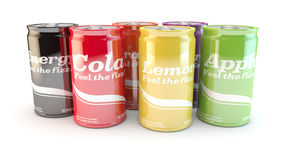 Product range of different types of fizzy soda cans of drink. Different cans of soda or drinks on a white background Royalty Free Stock Image