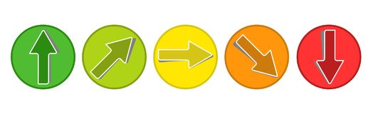 Product Rating System - 5 Arrow Buttons From Green To Red - Vector Illsutration. Product Rating System - 5 Arrow Buttons From Green To Red - Vector Illustration Royalty Free Stock Photo