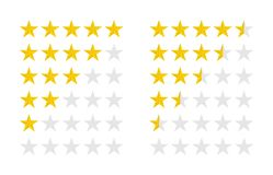 Product ratings set with gold stars, vector illustration. Product ratings set with gold stars, a vector illustration royalty free illustration