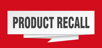 Product recall. Sign.  paper origami speech bubble.  tag.  banner royalty free illustration