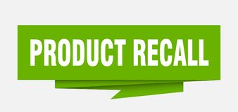 Product recall. Sign.  paper origami speech bubble.  tag.  banner stock illustration
