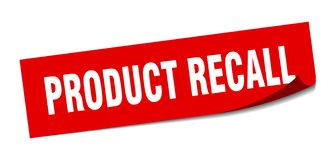 Product recall sticker. Product recall square sign. product recall stock illustration