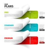 Product / service plan price comparison table stock illustration