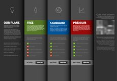 Product / service pricing comparison table template. With description - dark version Royalty Free Stock Photography
