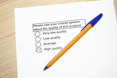 Product Survey on Quality Royalty Free Stock Photo