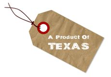A Product Of Texas Paper Tag And String. A plain brown Paper product of Texas tag over a white background Stock Images
