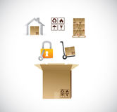 Product transportation icons coming from a box. Royalty Free Stock Photos