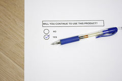 Product use survey. Will you continue to use this product survey royalty free stock photo