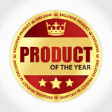 Product of the year badge with golden ribbon and red background. Product of the year badge with golden ribbon Stock Photo
