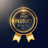 Product of the year golden label design. Vector Stock Image