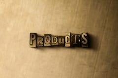 PRODUCTEN - close-up van grungy wijnoogst gezet woord op metaalachtergrond vector illustratie
