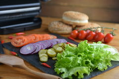 Producten voor hamburger Stock Fotografie