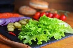 Producten voor hamburger Stock Afbeeldingen