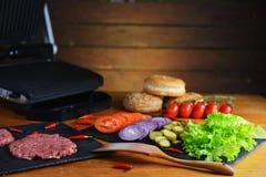 Producten voor hamburger Stock Foto's