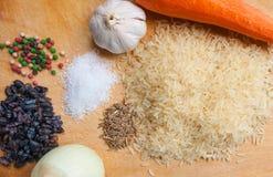 Producten voor het koken van pilau Stock Foto