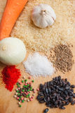 Producten voor het koken van pilau Stock Afbeeldingen