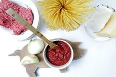 Producten voor Spaghetti Bolognese Royalty-vrije Stock Afbeeldingen