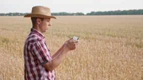 Producteur prenant des photos de rendement agricole de blé clips vidéos