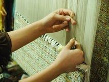 Productie en het weven van tapijten en stoffen royalty-vrije stock foto's