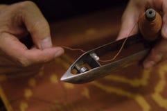 Productie en het weven van tapijten en stoffen Stock Fotografie