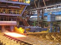 Productie van de staalplaat. stock fotografie