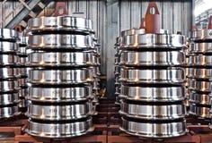 Productie van de wielen van de staaltrein Royalty-vrije Stock Afbeeldingen
