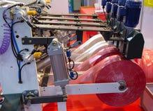 Productie van plastic zak, Extruder stock foto