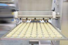 Productielijn bij bakkerij stock afbeeldingen