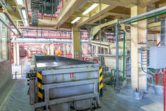 Production of aerated concrete blocks in metal box at factory Royalty Free Stock Image