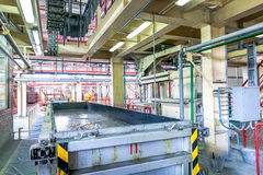 Production of aerated concrete blocks in metal box at factory Royalty Free Stock Photos
