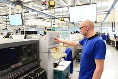 Free Production And Assembly Of Microelectronics In A Hi-tech Factory Stock Photo - 107450310