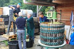 Production of apple juice in Steinsel. Luxembourg Royalty Free Stock Image