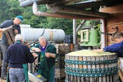 Production of apple juice in Steinsel. Luxembourg Stock Image