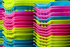 Production in Asia - Plastic. Bright and colorful plastic products from Thailand stock photo
