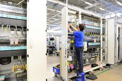 Production and assembly of microelectronics in a hi-tech factory royalty free stock photography