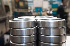 Production of bearings. Steel factory production line of the machine stock photography