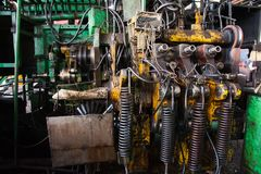 Production of bearings. Steel factory production line of the machine royalty free stock image