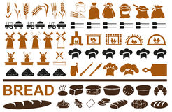 Production of bread icons on white Stock Images