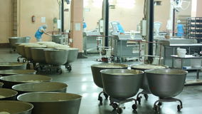 Production of bread, raw dough in the containers is in the shop for baking stock video