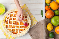 Production of cake with citrus Royalty Free Stock Photos