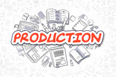Production - Cartoon Red Word. Business Concept. Royalty Free Stock Photos
