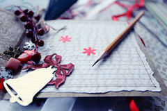 Production of Christmas cards Royalty Free Stock Photography