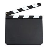 Production clapper board. Blank movie production clapper board with copy space isolated on white background. Blank slate board isolated on white background Royalty Free Stock Images