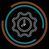 Production clock icon, production planning process. Symbol. Thin line pictogram - outline stroke vector illustration